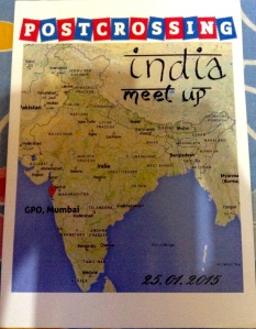 This was the first meet up I attended. The card was designed by Arushi and sent to me by Sita. We met other postcrossers from Mumbai and Pune, signed cards and posted those. We had about 60 requests for meet up postcards from all over the world on the forum.